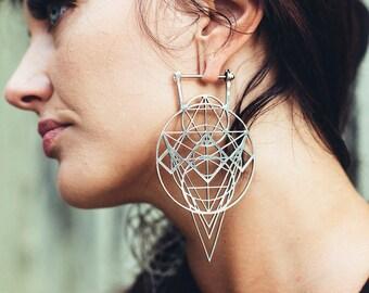 Silver crystaline earring - Stretch earring - Sacred geometry earring