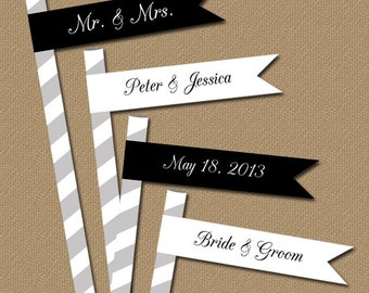 Personalized Wedding Black and White Straw Flags - Printable DIY Flags - Black and White Cupcake Toppers - Personalized Cupcake Flags