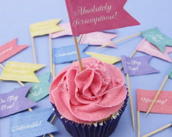 Set of 24 decorative paper for cupcake flags