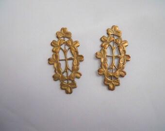 Vintage Floral  Brass Stamping Pair