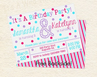 Siblings Joint Birthday Party Sisters Printable Invitations in Turquoise Purple and Pink /01