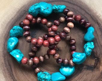 Howlite and Wood Boho Bracelet