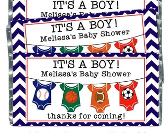 Boy Baby Shower Candy Wrappers - Sports Baby Boy, Baby Shower Candy Wrapper, Sports Baby Shower favor, fit over 1.55 oz chocolate bars