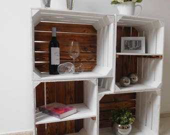 """Combination Package white wooden crates """"shabby chic"""""""