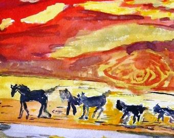 Horses running  watercolor print