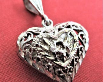 Sterling Silver Puffy Heart Pendant Filigree Heart Love Birds Necklace Pendant Tree of Life Pendant