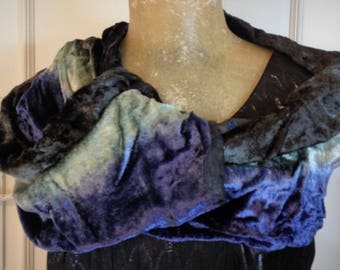 Velvet Scarf, Vintage Scarf, Satin Scarf, Evening Scarf, Ladies Scarf, Ladies Scarves, Blue Scarf, Green Scarf, Velvet Accessory, Party
