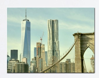 New York canvas, New York City skyscapers, Manhattan skyline, large wall art, nyc canvas wrap, Brooklyn Bridge, industrial New York decor