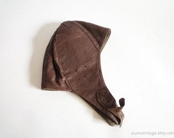 Vintage Leather Aviator Hat Brown Distressed 50s 60s