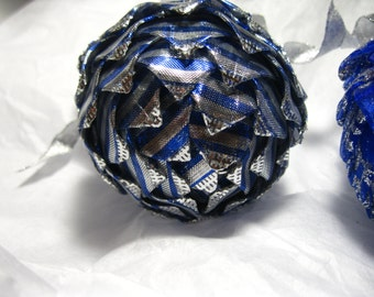 blue and Silver striped Collectiable keepsake ornaments, Christmas Ornament