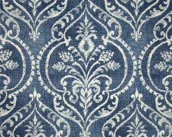 Two 26 x 26 Custom Designer Decorative Pillow Covers Euro Shams -  Large Paisley Damask - Denim Blue