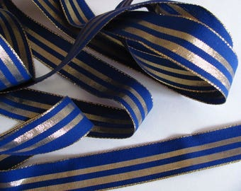 Blue and gold - brass Ribbon creation flowers - headdress - 2 meters / 25mm