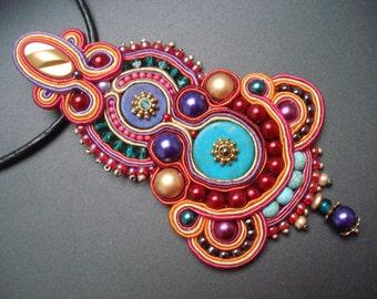 Unique handmade soutache/soutasz NECKLACE, boho gypsy hippie style: Harem