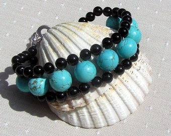 "Turquoise Magnesite & Black Onyx Crystal Gemstone Bracelet ""Lehua Dreams"", Black Bracelet, Chakra Bracelet, Blue Bracelet, Leo Jewelry"