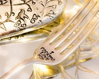 I Forking Love You - Hand Stamped Engraved Fork - Vintage Fork