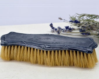 Vintage Silver Plate Clothing Brush - silverplate clothes lint brush - Monogram