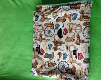 Cowboy western motif cotton and fleece child blanket