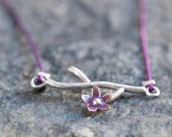 Organic Twig and Purple Flower Recycled Necklace Brass Flower Silver Branch Dainty Nature Inspired Romantic and Elegant Handmade jewelry