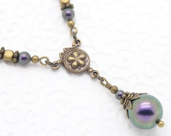 Neo Victorian Style Necklace with Iridescent Purple Swarovski Pearls and Brass,