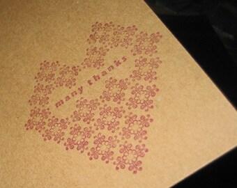 Many Thanks Letterpress Card ~ Handmade ~ FREE shipping ~