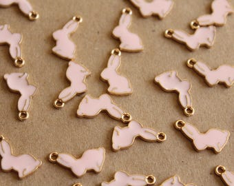 10 pc. Pink and Gold Enameled Bunny Rabbit Charms, 17mm x 11mm | MIS-143
