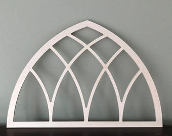 Vintage inspired gothic arched window frame, wood church screen, custom, early 1900's inspiration, unfinished or painted stained, farmhouse