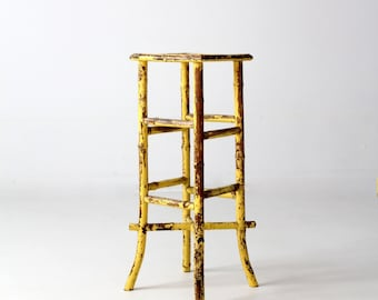 antique bamboo end table, yellow plant stand, accent table