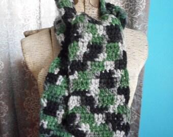Nordic Forest Scarf Hand Crochet Chunky Wool Blend Boyfriend Scarf Neck Wrap. Fall Winter Boho Earthy Green Black Heather Gray Camo Scarf