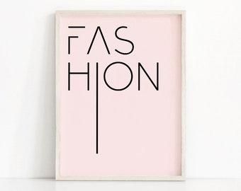 Digital Download Print, Pink Fashion Print, Pink Wall Art, Instant Download Printable Art, Digital Wall Art, Fashion Poster, Pink Wall Decor