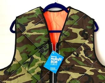 Vintage 80s reversible vest.  camouflage // blaze orange // quilted / neon orange / base layer / vintage shell / hunting vest / 70s / SM/MED