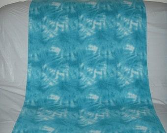 Pet Blanket - soft aqua blue tonal tie-dye fleece with the same print on the reverse side