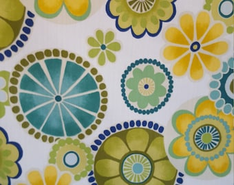Yellow Green Blue RETRO FLORAL Burst Design COTTON Upholstery Fabric, 07-60-39-0417