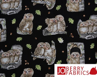 Owl Fabric, Hoo's Tree by Tracey Lizotte for Elizabeth Studio, Quilt or Craft Fabric, Fabrics by the Yard