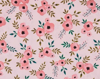 Floral Rose Fabric by the Yard, Pink Rose Fabric, Pink Floral Fabric, Baby Girl Nursery Fabric, Quilting Cotton Fabric, Shabby Chic Fabric