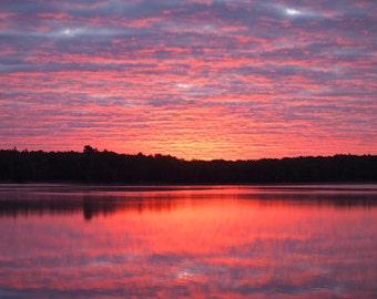 Sunrise on the Lake Print, Fine Art Photography, Tranquil Sunrise on the Water, Reflective Sunrise, Summer Days, Sunrise
