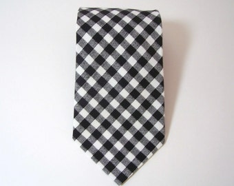Black Gingham Necktie for Boys