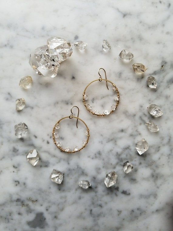 Herkimer diamond lined brass hoops Pleiades seven sisters half moon smaller size