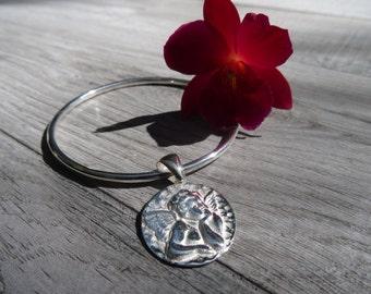 Guardian angel bangle bracelet. Sterling silver.