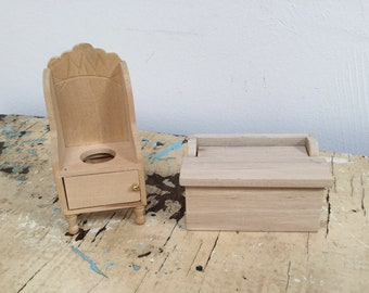 Dollhouse miniature wooden potty chair and toy chest , unfinished