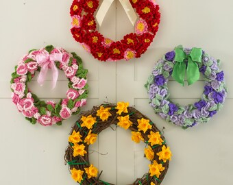 Floral Year of Wreaths Set 1 - January to April Crochet Patterns PDF
