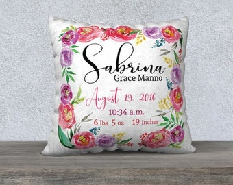 Birth Announcement Pillow - Personalized Baby Pillow - Baby Gift - Girl Nursery Decor - Watercolour Floral Throw Pillow