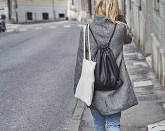 Kalla Black Drawstring Backpack, minimalist bag