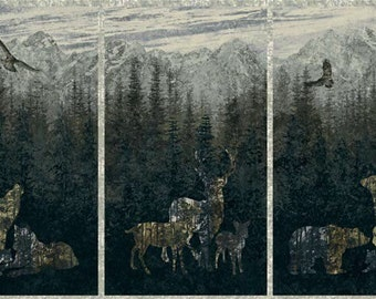 Wildlife Silhouette Animals/Bear/Deer/Wolf Detailed Landscape Fabric [[by the half yard]]