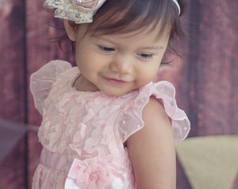 Pink rosette headband vintage inspired with pearls, rhinestone, twine and lace. baby headband. photo prop. flower girl.