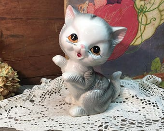 Vintage Porcelain Cat Figurine/Gray and White/Plastic Whiskers