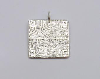 Father's Day Gift, Fingerprint Jewelry, Custom Silver Square Fingerprint Pendant with 4 Fingerprints, Personalized Charm, Men's Fingerprint
