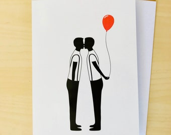 Gay Silhouette Couple - Gay birthday card - same sex birthday card - gay birthday gift - gay boyfriend birthday card - gay boyfriend card