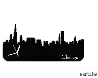 Chicago Skyline - Silhouette - Wall Clock
