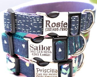 Denim Engraved Buckle Dog Collar - Custom Dog Collar - Personalized with 21 Webbing Colors to Choose From