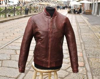 Leather jacket model Fonzie years 70 Bordeaux leather size M